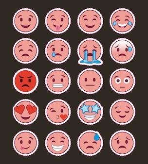 Collezione emoji sorriso rosa Vettore Premium