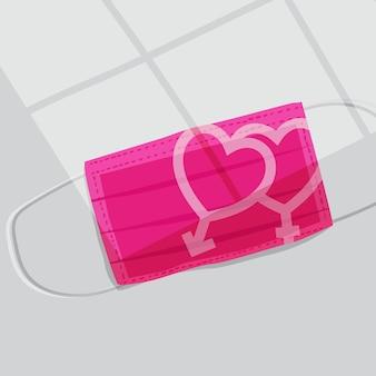 Maschere chirurgiche rosa con icona del sesso maschile e femminile. protezione dal virus. concetto di san valentino -