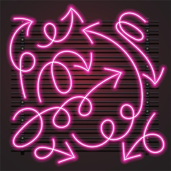 Insieme al neon rosa della freccia del viticcio