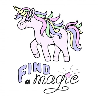Unicorno rosa e trova una scritta magica