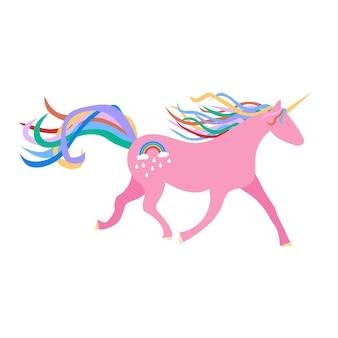 Unicorno rosa su sfondo bianco