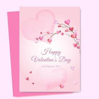 Modello di carta di san valentino rosa con cuore