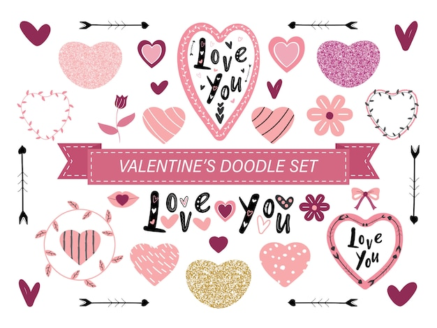 Insieme di doodle di san valentino rosa