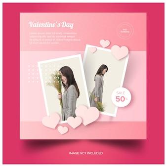 Pink valentines social media banner premium download gratuito