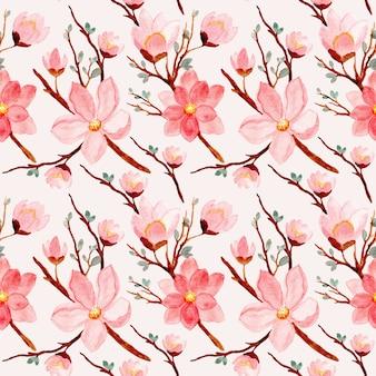 Modello senza cuciture del fiore rosa dell'acquerello
