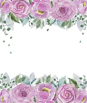 Riga superiore e inferiore delle rose dell'annata dell'acquerello rosa con sfondo bianco spazio aperto