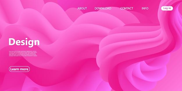 Onda rosa. flusso del fluido. pagina di destinazione. poster 3d.