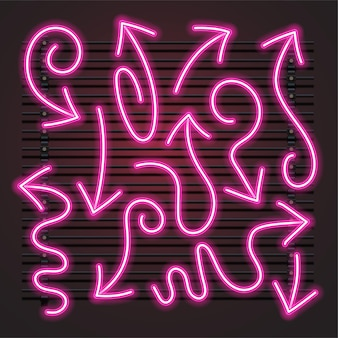 Insieme al neon rosa freccia ondulata