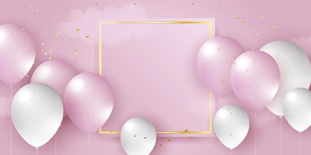 Palloncini rosa bianchi coriandoli concept design modello vacanza happy day sfondo celebration vector...