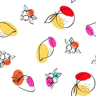 Modello senza cuciture bianco di vettore rosa e giallo arancio e bacca. trama di limone e fragola di schizzo. sfondo di disegno di mele e pesche blu e rosse.