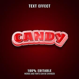 Effetto di testo divertente con caramelle rosse mignolo
