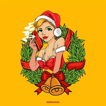 Ragazza pinup sexy sposare natale fumare marijuana mascotte logo