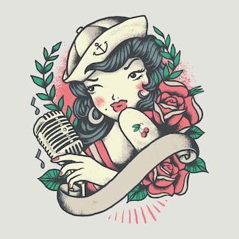 Illustrazione del tatuaggio dell'annata della ragazza del pinup