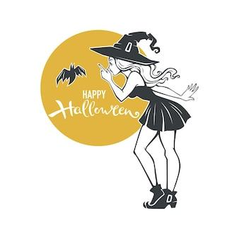 Strega e pipistrello pinup, illustrazione vettoriale di halloween e composizione scritta Vettore Premium