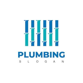 Modello di progettazione del logo del tubo per l'identità dell'azienda idraulica