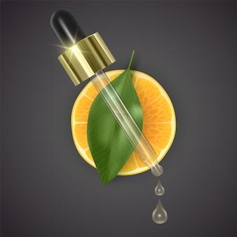 Pipettare con olio di arancia sullo sfondo di fette di arancia e foglia verde