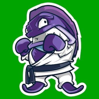 Piranha con una mascotte di arti marziali pugno