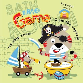 Vettore di fumetto animale pirata