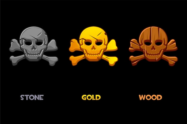 Segno nero pirata, teschio cartone animato con ossa. illustrazione set di icone di un teschio umano spaventoso per il gioco.