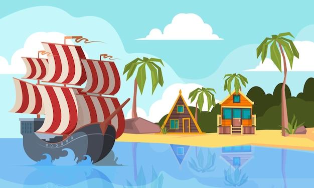 Barca pirata nell'oceano. paesaggio marino con nave pirata sulle onde vicino al fondo del fumetto di vettore dell'isola deserta. trasporto in barca all'isola con palme verdi e illustrazione della spiaggia