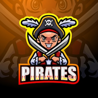 Pirate boy esport mascotte logo design