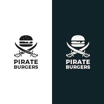 Hamburger pirata logo design illustrazione vettoriale