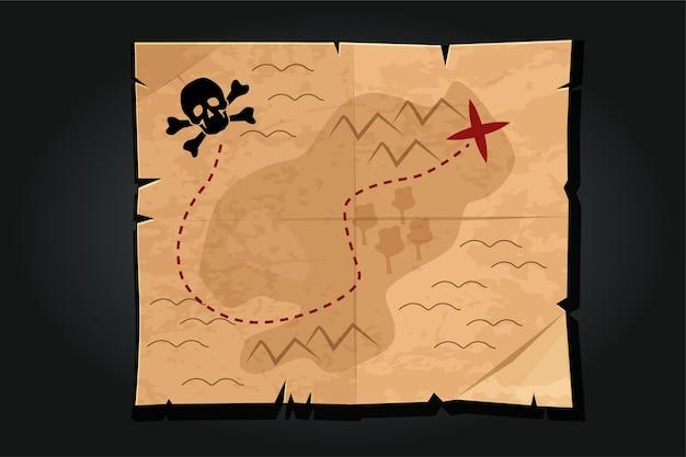 Mappa del tesoro di carta vintage del fumetto del pirata con un teschio. modo o strada per trovare il tesoro dei pirati.