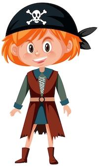 Concetto di pirata con una ragazza in costume da pirata isolato su sfondo bianco