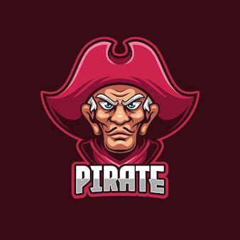 Modello di logo di sport elettronici pirata