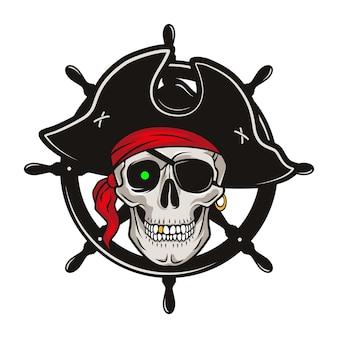 Emblema pirata con volante e teschio in un cappello e benda sull'occhio
