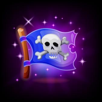 Icona del videogioco bandiera pirata con scintillii su sfondo scuro. illustrazione dell'interfaccia utente dell'applicazione mobile jolly roger, stile cartoon