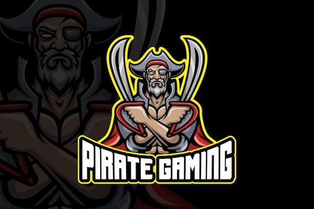 Pirate gaming- modello di logo esport