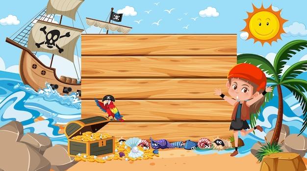 Ragazza pirata sulla scena diurna della spiaggia con un modello di banner vuoto