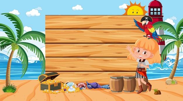 Ragazza pirata sulla scena diurna della spiaggia con un modello di banner in legno vuoto
