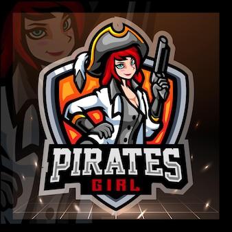 Disegno del logo esport della mascotte della ragazza pirata