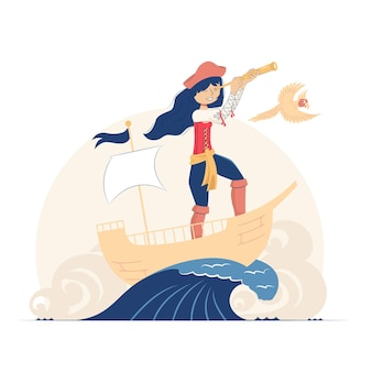 Una ragazza pirata su una nave guarda attraverso un telescopio e un pappagallo volante