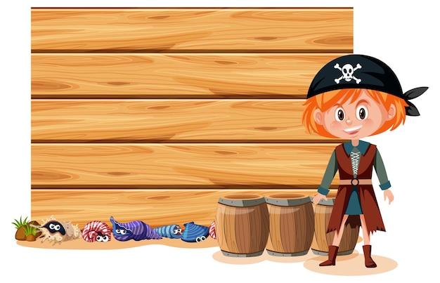 Una ragazza pirata con uno striscione vuoto isolato su sfondo bianco