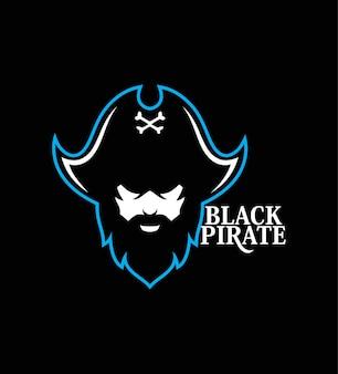 Mascotte della testa del pirata sea pirates logo template design illustrazione vettoriale