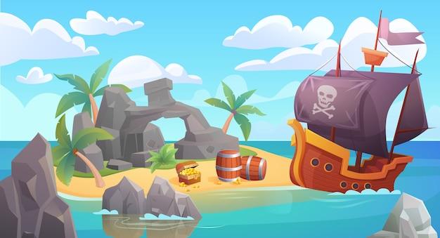 Paesaggio dell'isola dei pirati con nave pirata e tesoro