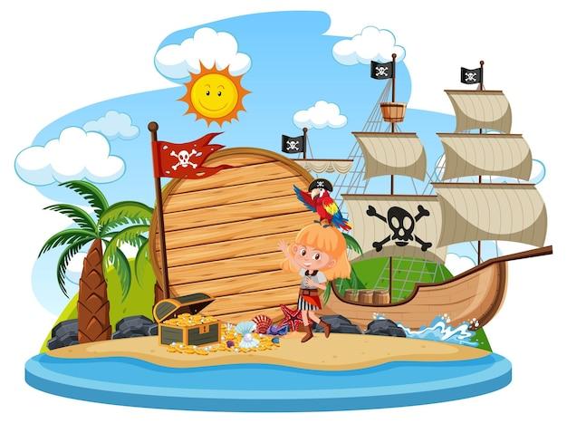 Isola dei pirati con modello di banner vuoto isolato
