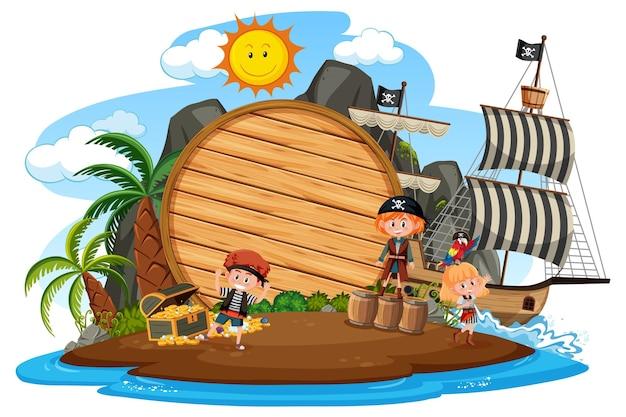 Isola dei pirati con uno striscione vuoto isolato su sfondo bianco