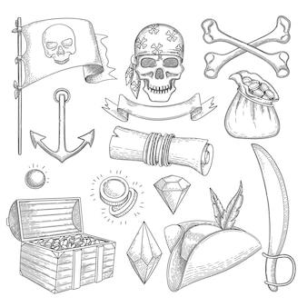 Set di oggetti pirata