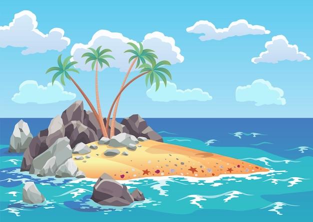 Isola dell'oceano dei pirati in stile cartone animato. palme sull'isola disabitata del mare. paesaggio tropicale