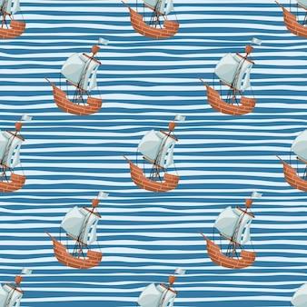 Modello senza cuciture della barca a vela del pirata. carta da parati geometrica per ragazzi con barche e onde.