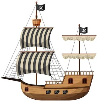 Nave pirata in stile cartone animato isolato su sfondo bianco
