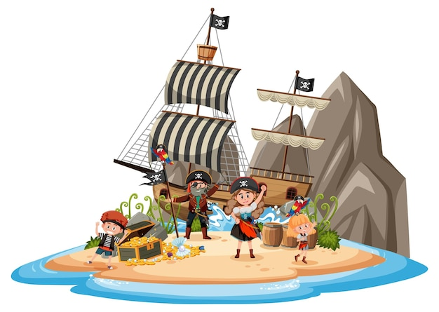 Nave pirata sull'isola con molti bambini isolati su sfondo bianco