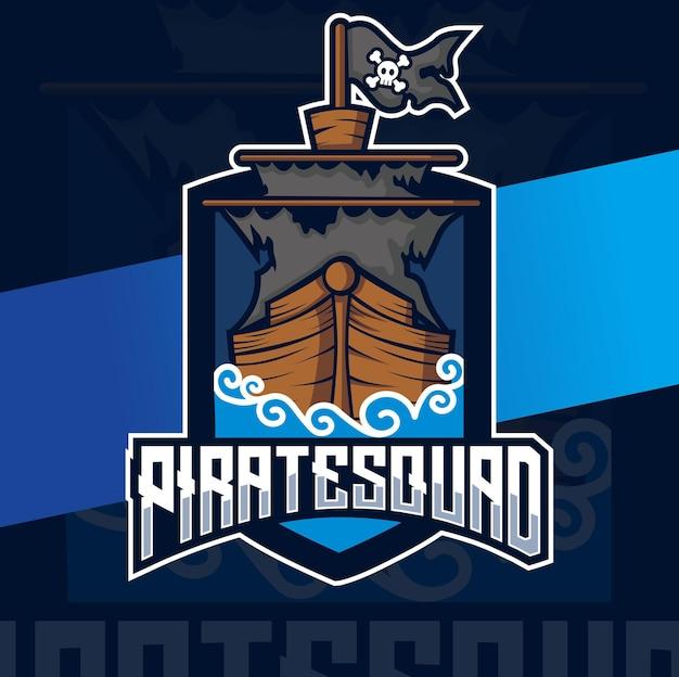 Design esport del logo della nave pirata per giochi e vacanze