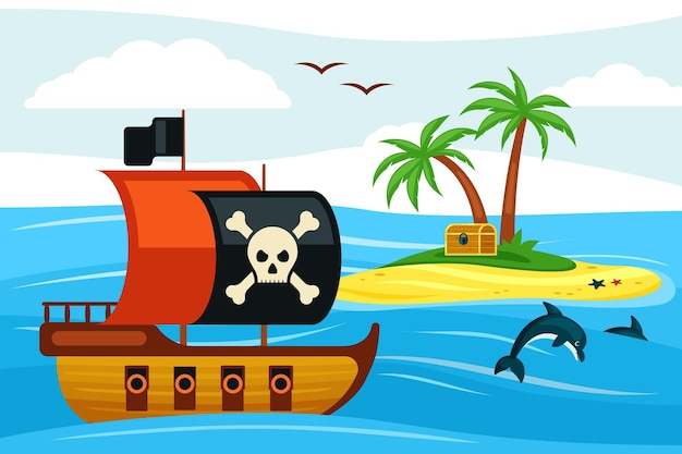 Nave pirata che naviga verso l'illustrazione dell'isola del tesoro