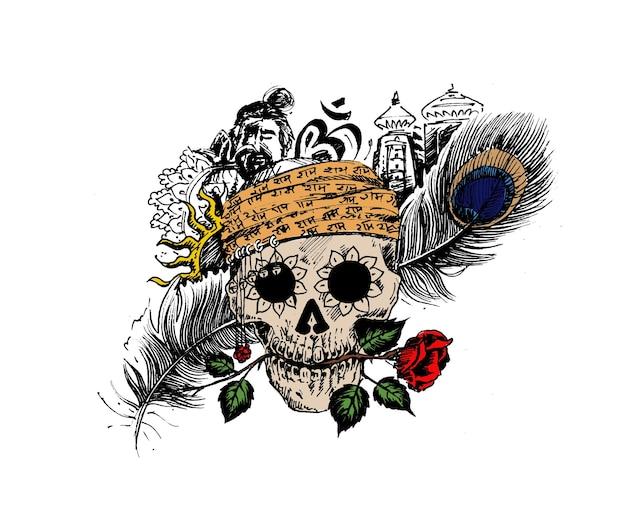 Logo corsaro teschio pirata testa di uomo con tempio di piume di pavone rosa per un design di magia nera