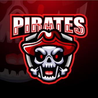 Illustrazione della mascotte di esport teschio pirata